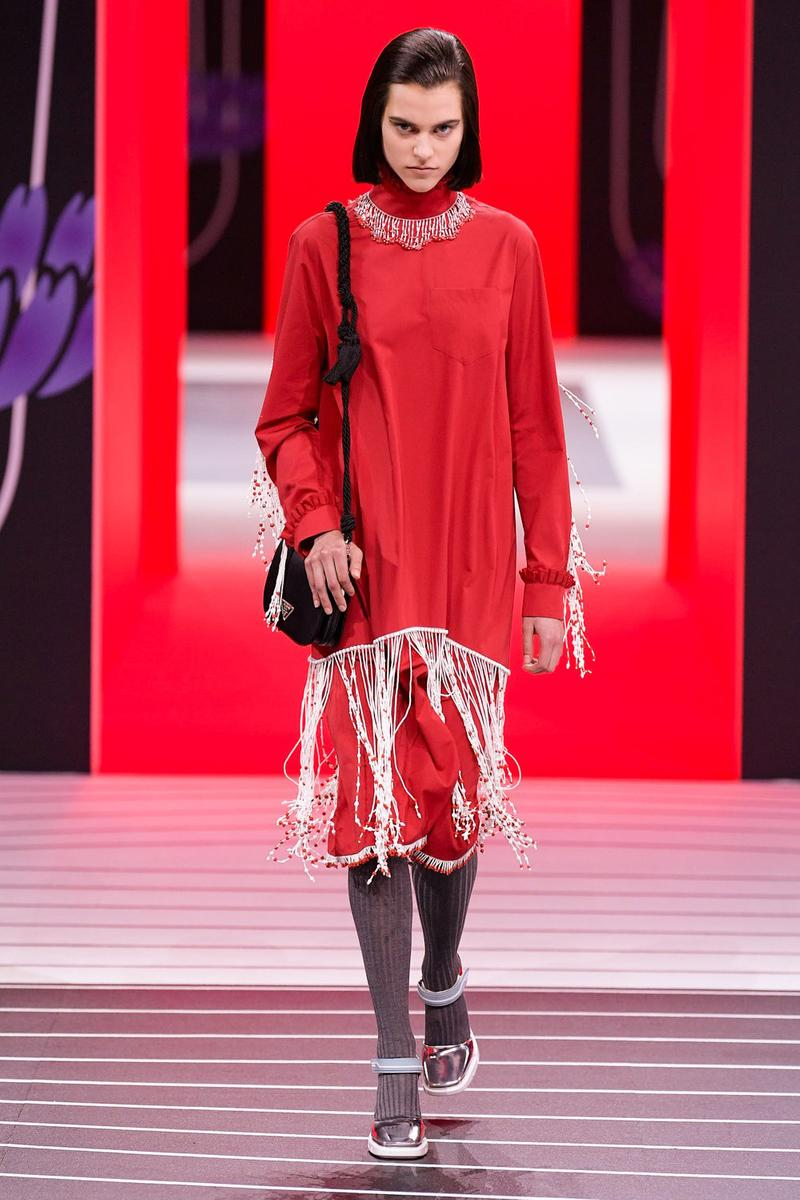 Prada Fall/Winter 2020 Collection Runway Show Fringe Dress Red