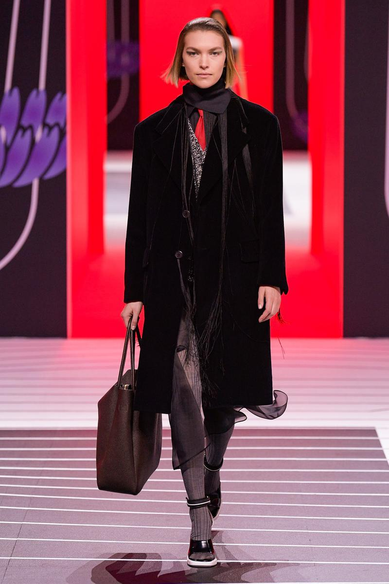 Prada Fall/Winter 2020 Collection Runway Show Velvet Coat Black