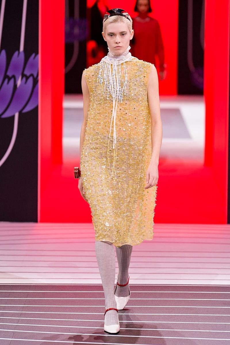 Prada Fall/Winter 2020 Collection Runway Show Beaded Dress Yellow