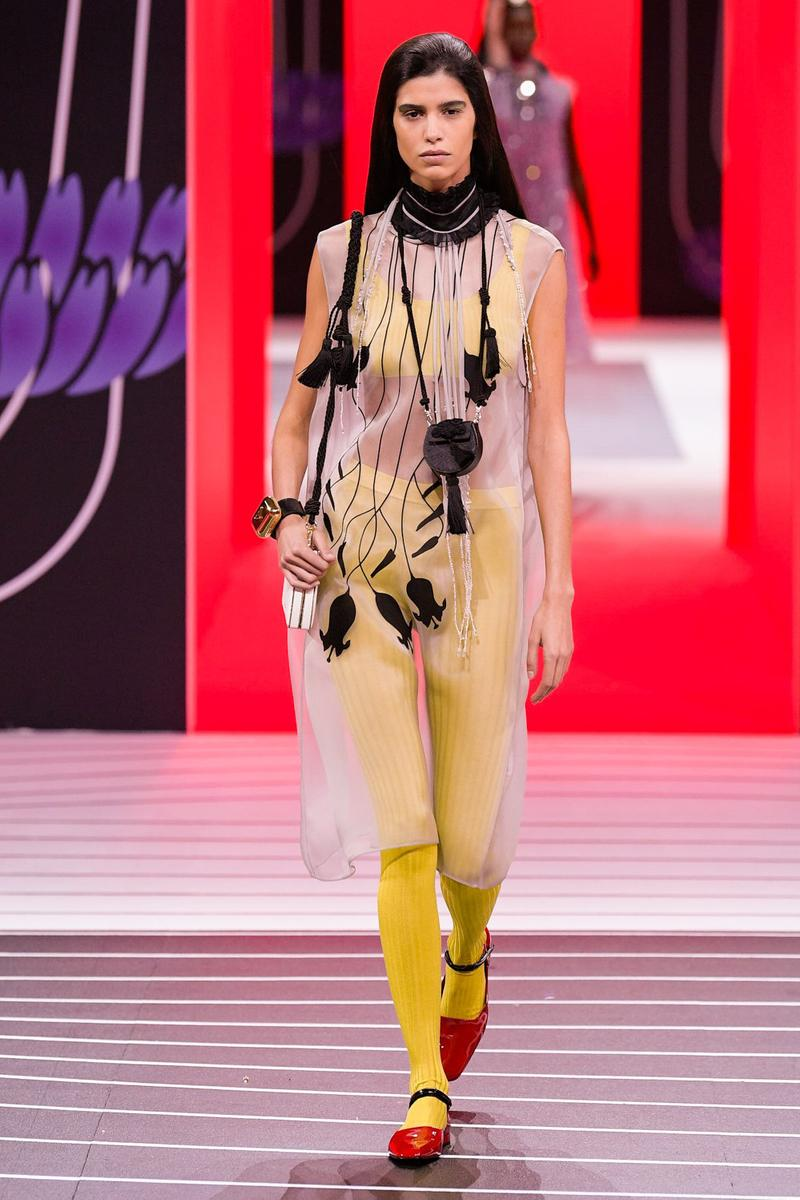 Prada Fall/Winter 2020 Collection Runway Show Sheer Dress Leggings Yellow