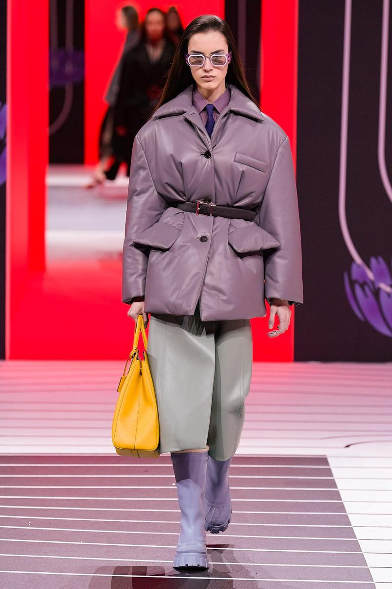 Prada Fall/Winter 2020 Collection Runway Show Leather Puffer Purple