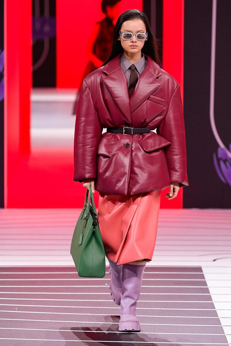 Prada Fall/Winter 2020 Collection Runway Show Leather Puffer Burgundy