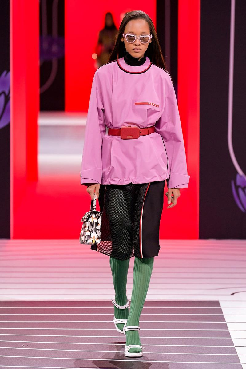 Prada Fall/Winter 2020 Collection Runway Show Logo Shirt Pink