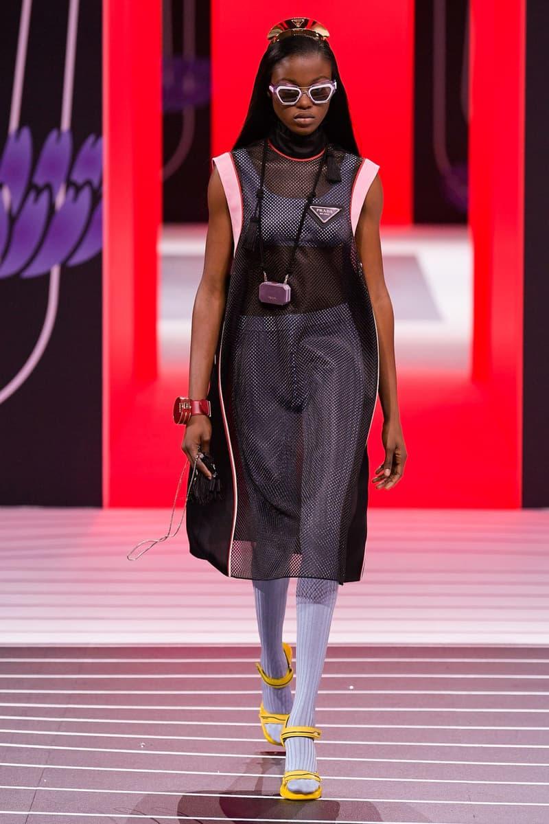 Prada Fall/Winter 2020 Collection Runway Show Sheer Dress Leggings Purple
