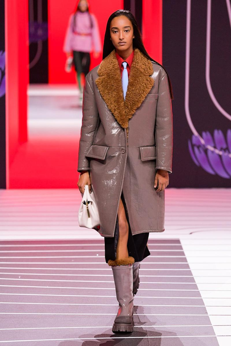 Prada Fall/Winter 2020 Collection Runway Show Shearling Coat