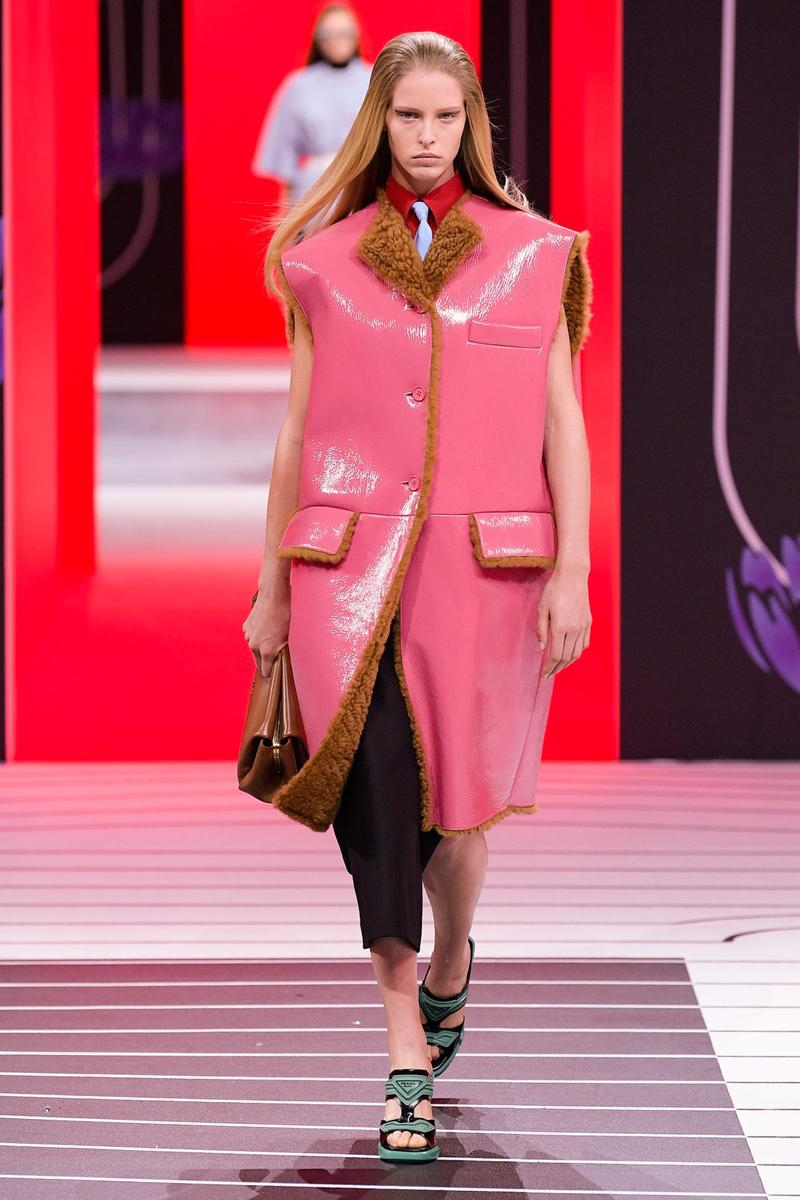 Prada Fall/Winter 2020 Collection Runway Show Shearling Coat Vest Pink