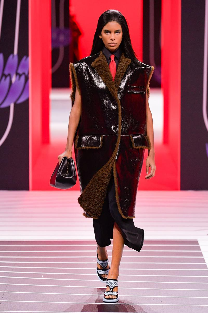 Prada Fall/Winter 2020 Collection Runway Show Shearling Coat Vest Brown