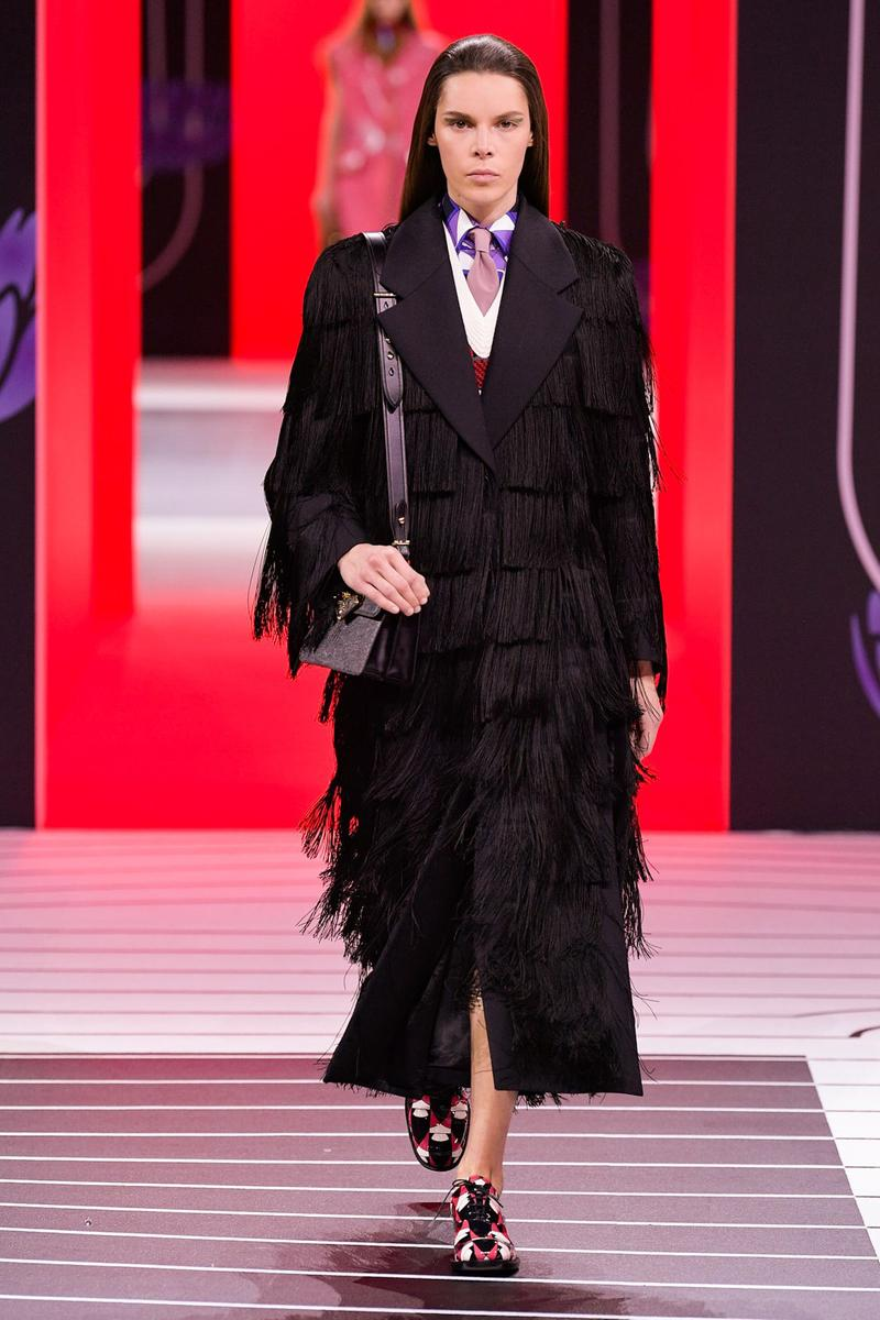 Prada Fall/Winter 2020 Collection Runway Show Fringe Coat Black