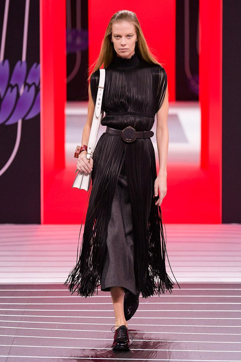 Prada Fall/Winter 2020 Collection Runway Show Fringe Dress Black