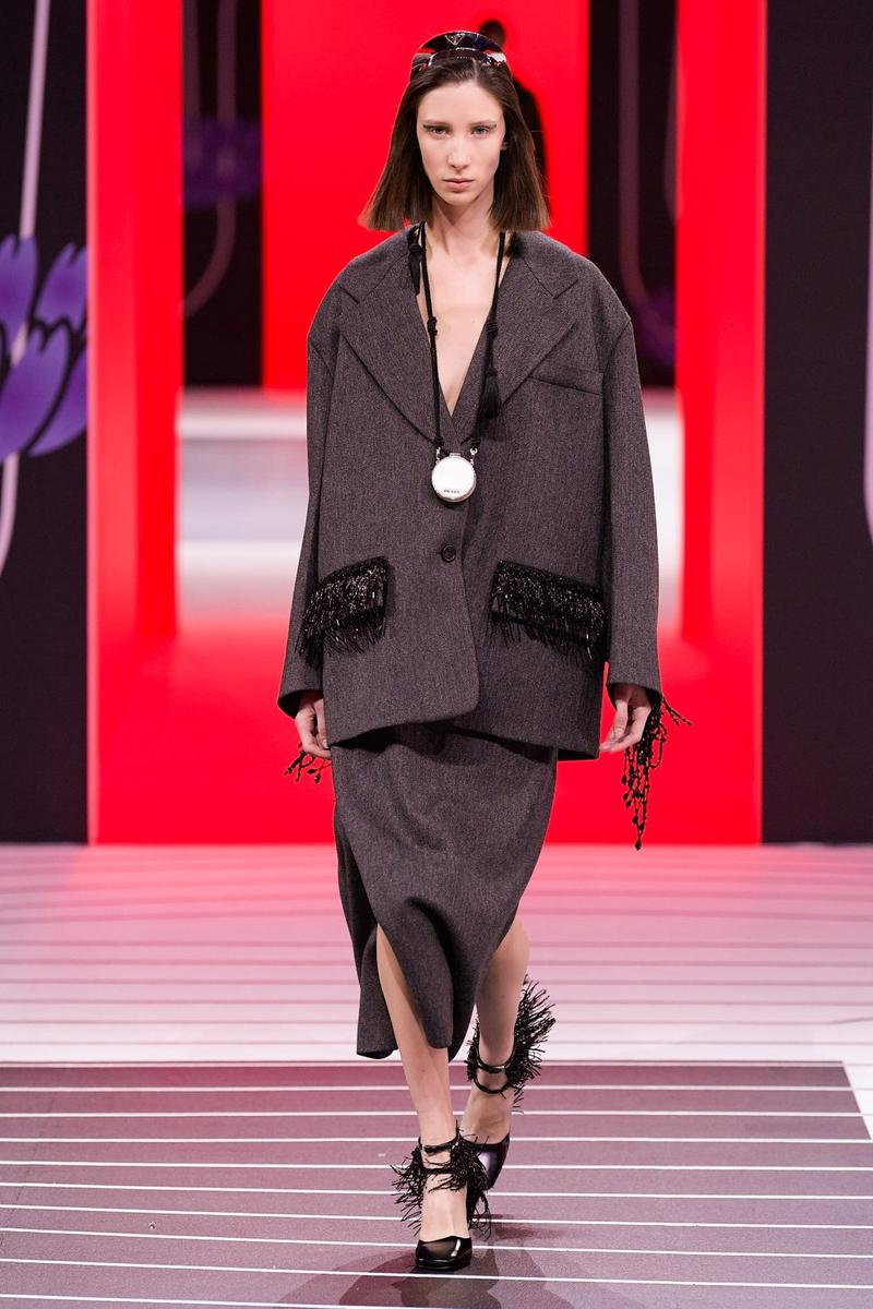 Prada Fall/Winter 2020 Collection Runway Show Jacket Grey