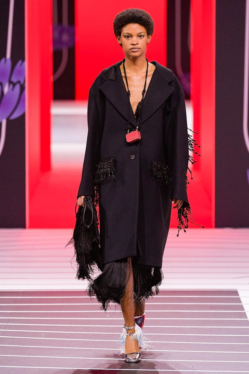 Prada Fall/Winter 2020 Collection Runway Show Fringe Coat