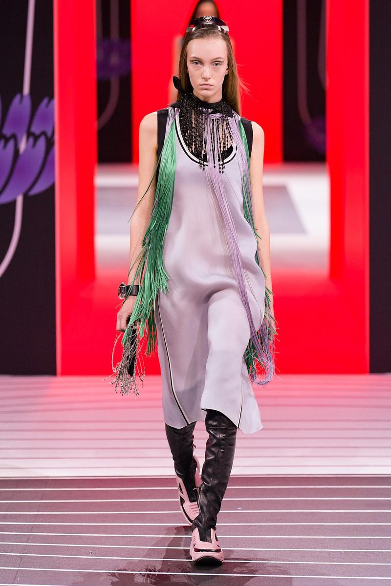 Prada Fall/Winter 2020 Collection Runway Show Fringe Dress Green