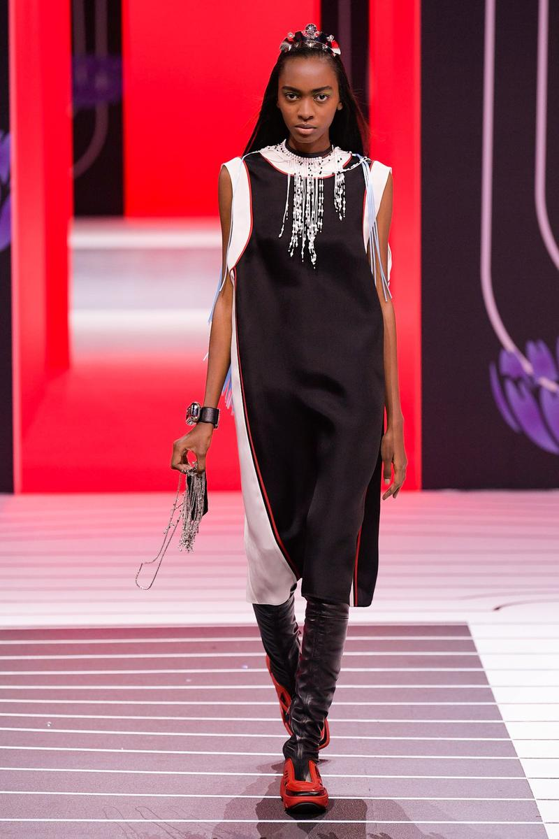 Prada Fall/Winter 2020 Collection Runway Show Sleeveless Dress Black