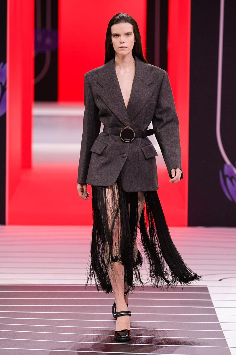 Prada Fall/Winter 2020 Collection Runway Show Jacket Fringe Skirt