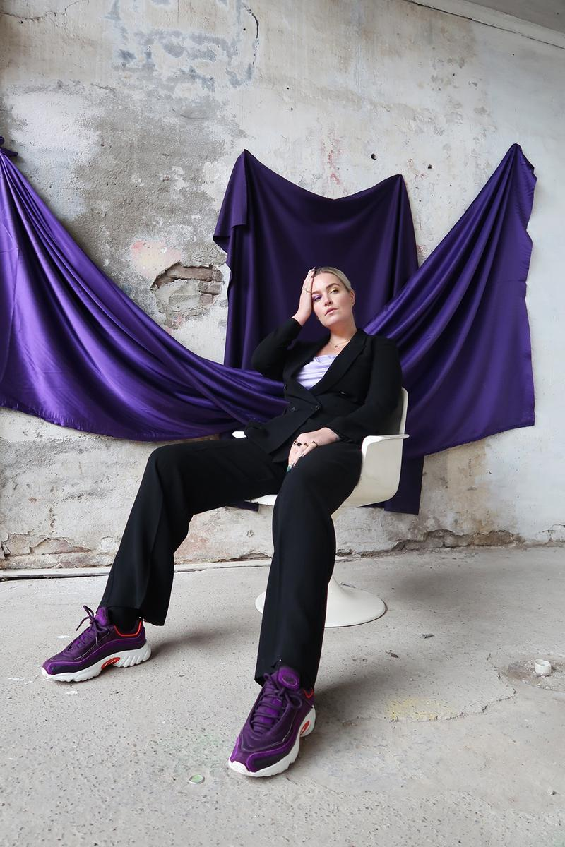 reebok sanne poeze girl on kicks collaboration daytona dmx sneakers its a mans world campaign purple