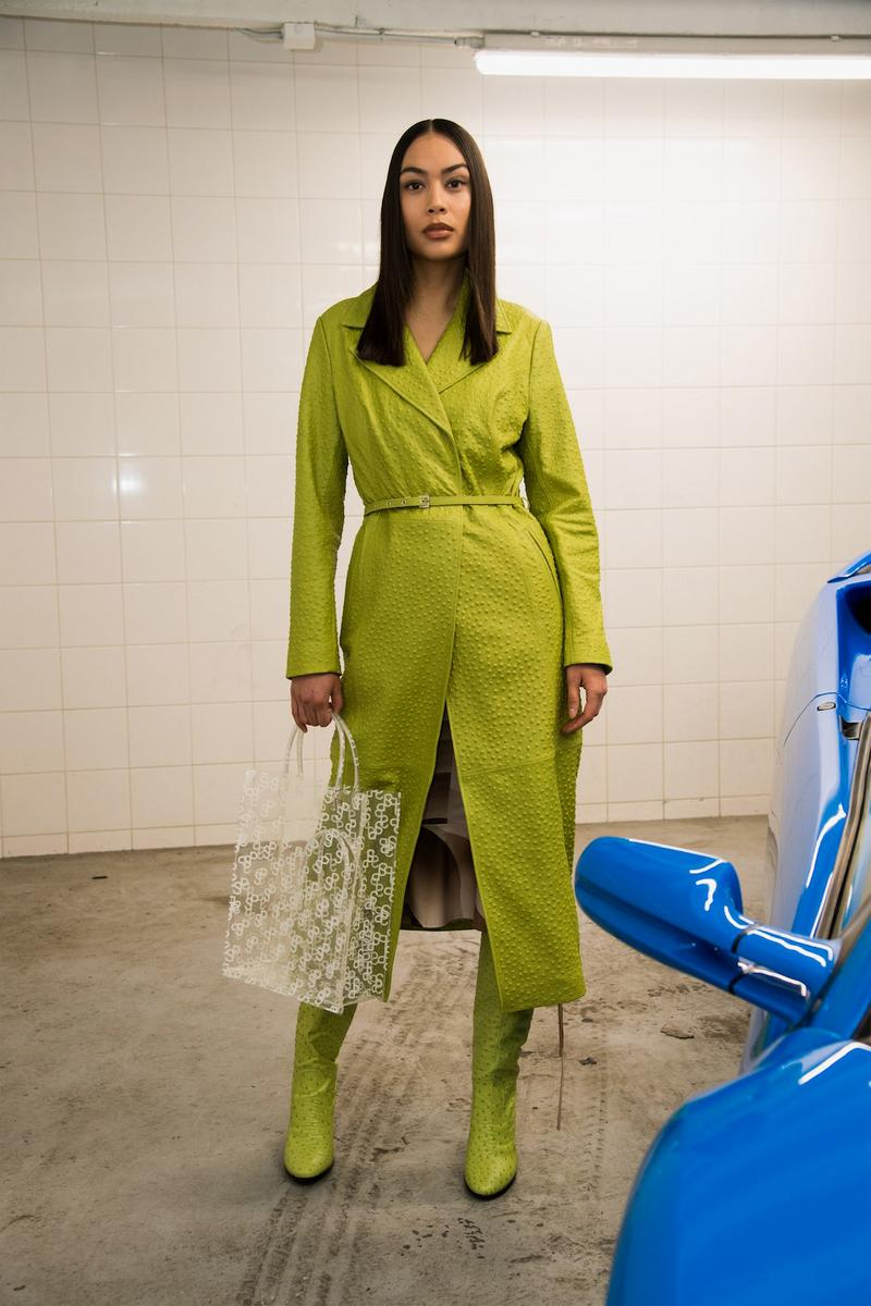saks potts paris fashion week fall winter collection cathrine barbara lime green trench coat transparent bag white crop jacket mesh dress shades sunglasses