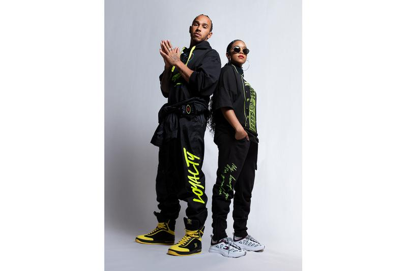 tommy hilfiger her lewis hamilton collaboration spring summer hoodies shirts joggers sweatpants sneakers neon green black