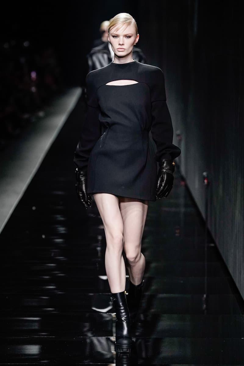 Versace Fall/Winter 2020 Collection Runway Show Long Sleeve Mini Dress Black