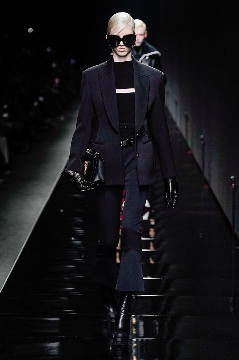 Versace Fall/Winter 2020 Collection Runway Show Jacket Flare Pants Black