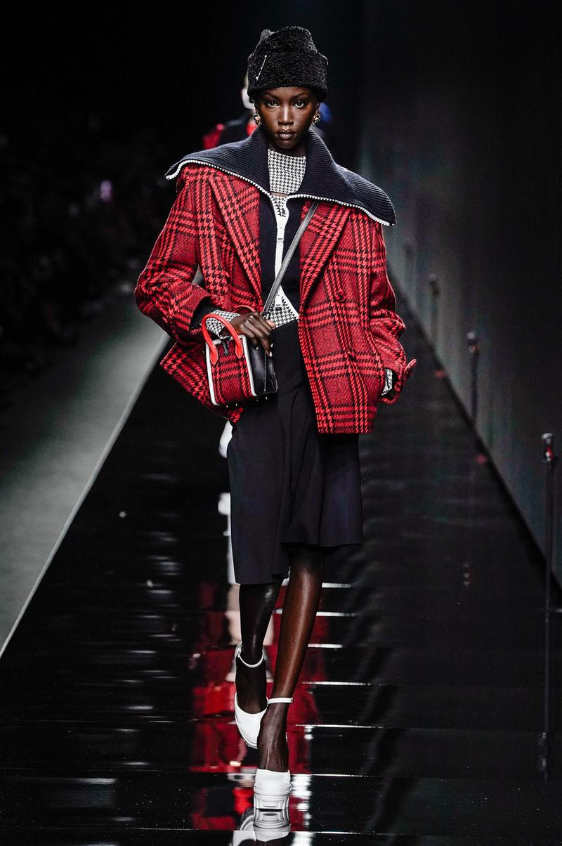 Versace Fall/Winter 2020 Collection Runway Show Jacket Plaid Red