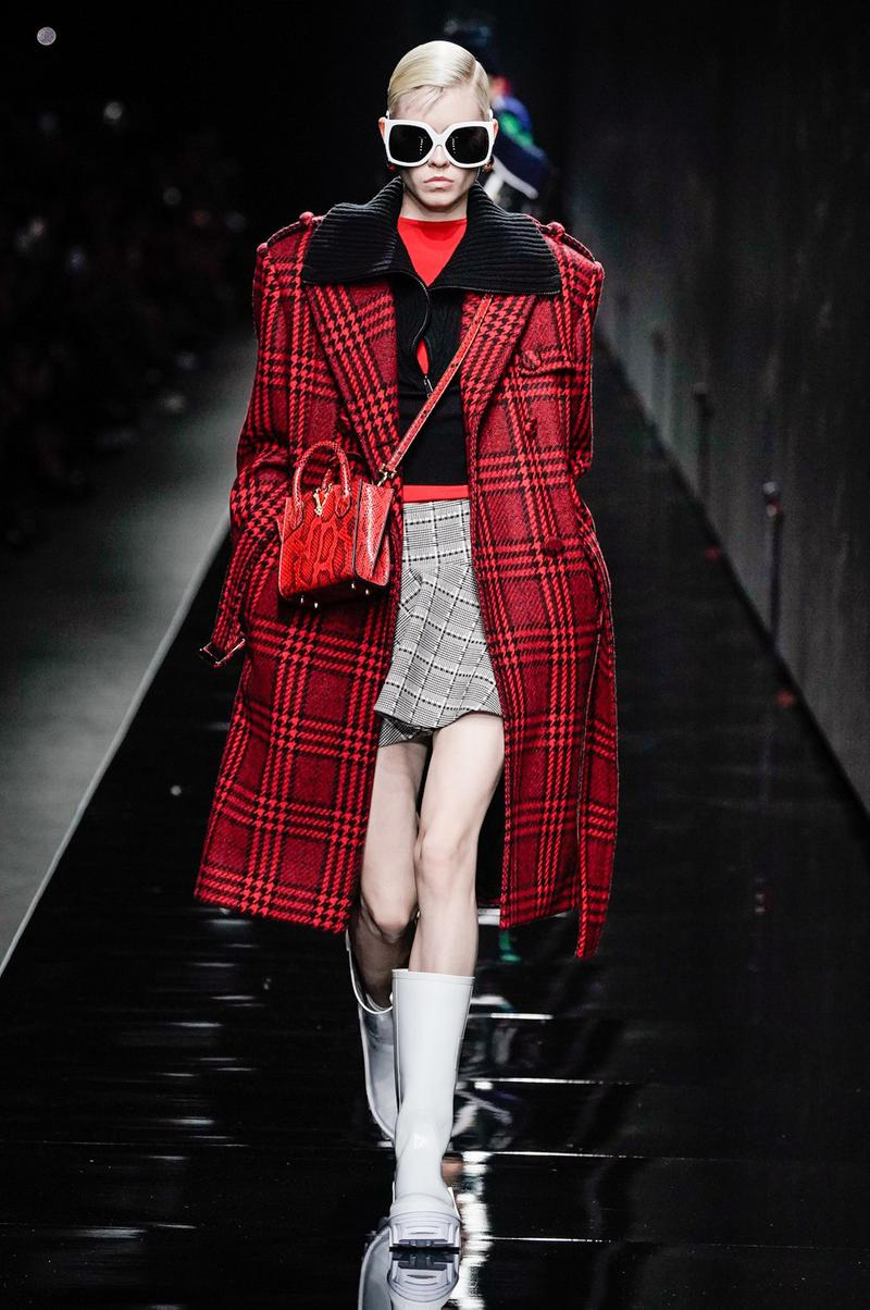 Versace Fall/Winter 2020 Collection Runway Show Coat Plaid Red
