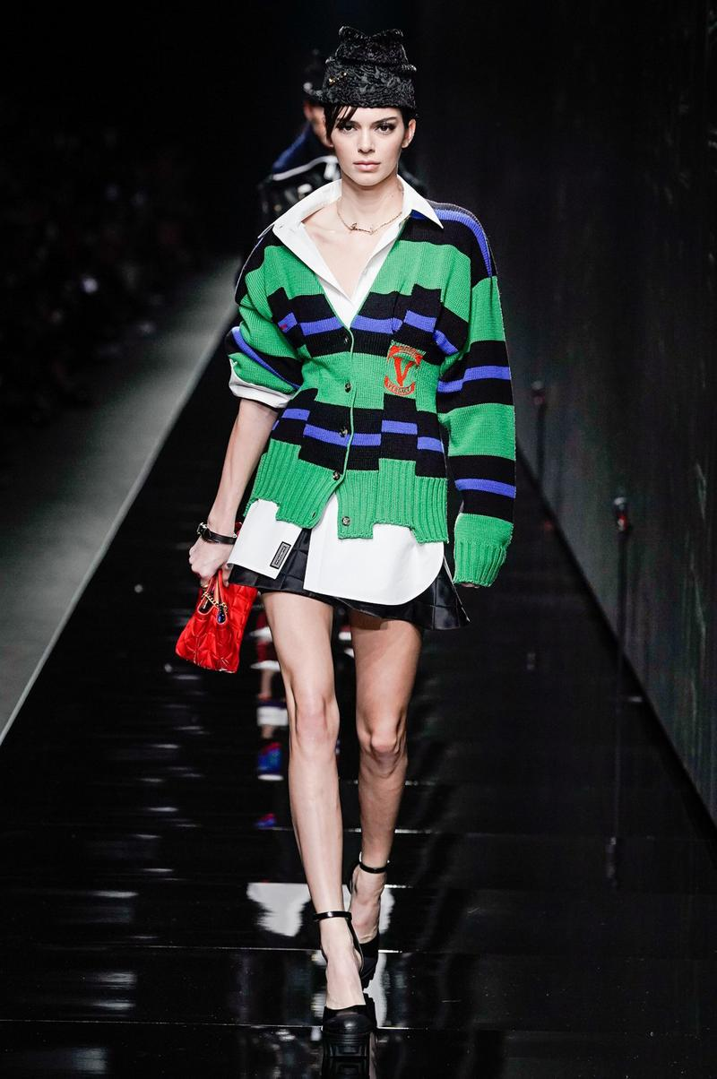 Versace Fall/Winter 2020 Collection Runway Show Striped Sweater Blue Green