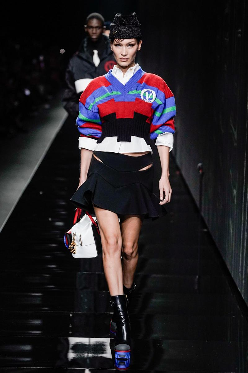 Versace Fall/Winter 2020 Collection Runway Show Cropped Sweater Red Blue