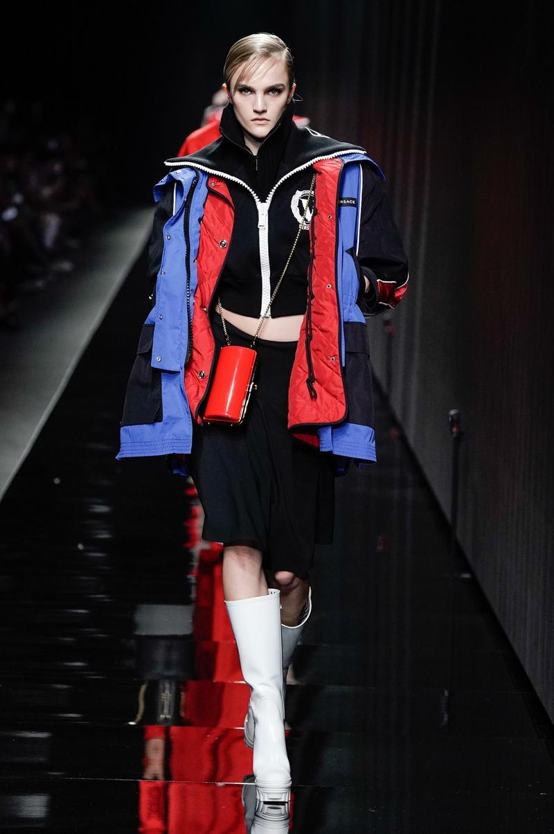 Versace Fall/Winter 2020 Collection Runway Show Winter Coat Blue Red