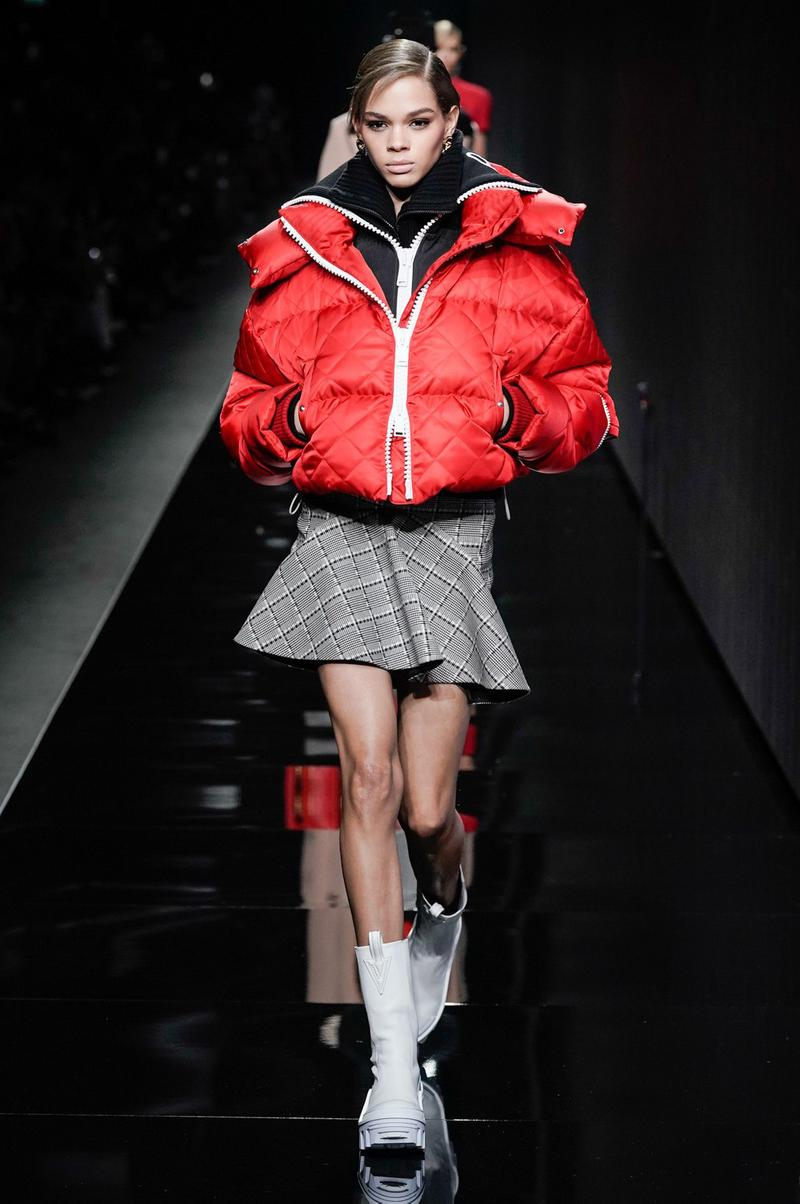 Versace Fall/Winter 2020 Collection Runway Show Puffer Jacket Red