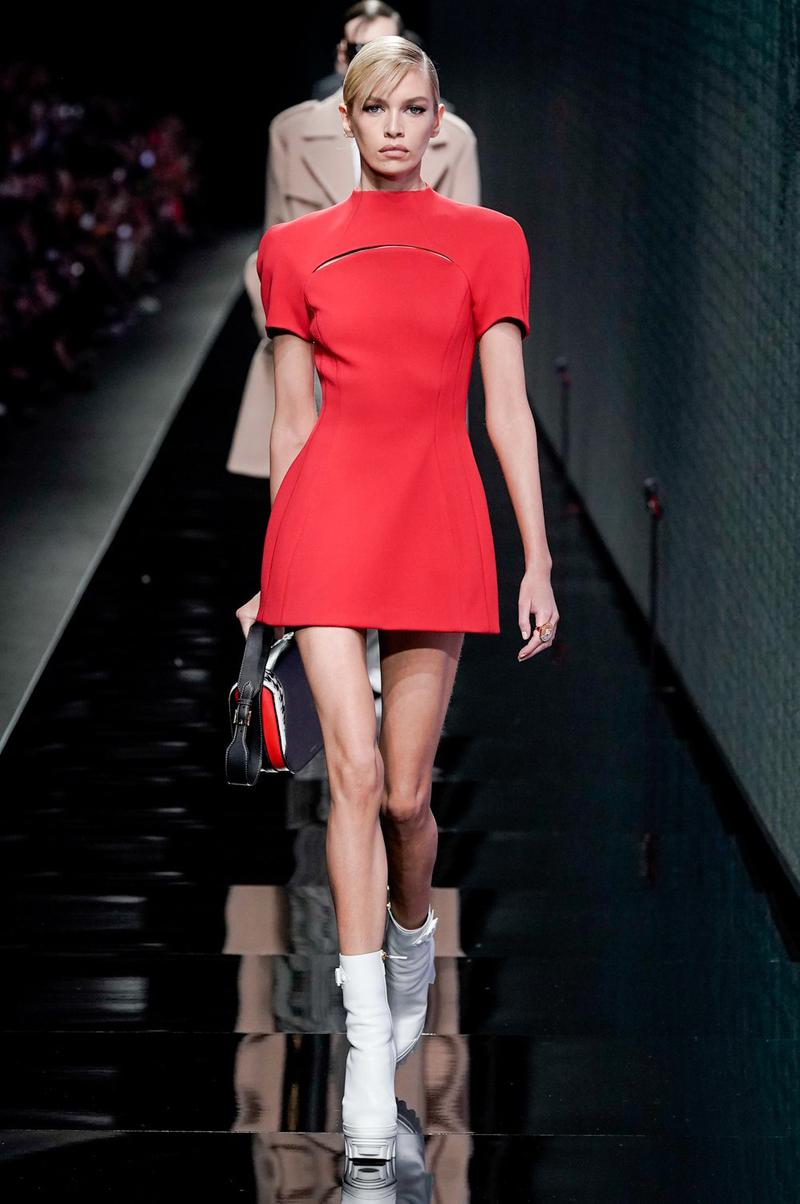 Versace Fall/Winter 2020 Collection Runway Show Mini Dress Red