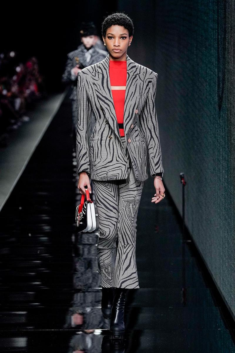 Versace Fall/Winter 2020 Collection Runway Show Striped Suit Black White