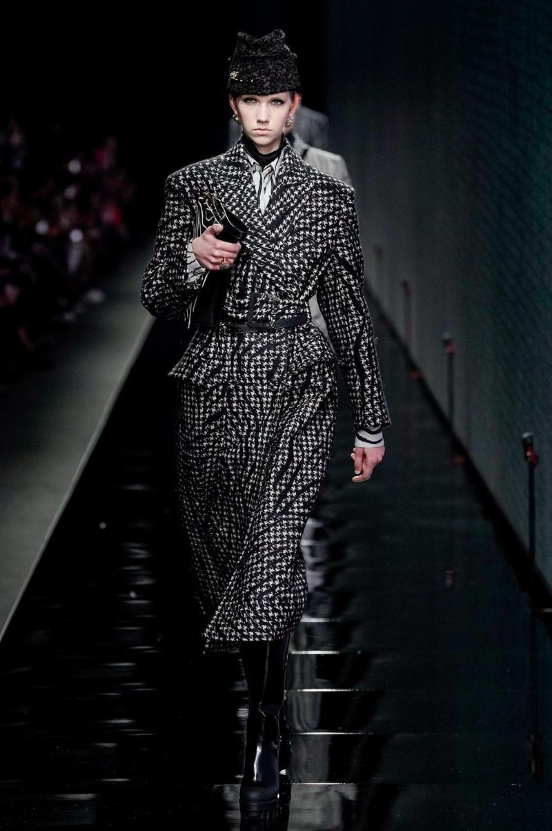 Versace Fall/Winter 2020 Collection Runway Show Coat Striped White Black