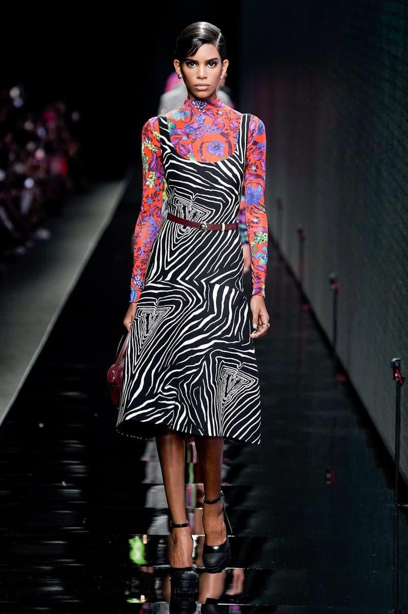 Versace Fall/Winter 2020 Collection Runway Show Zebra Dress Barococo Top