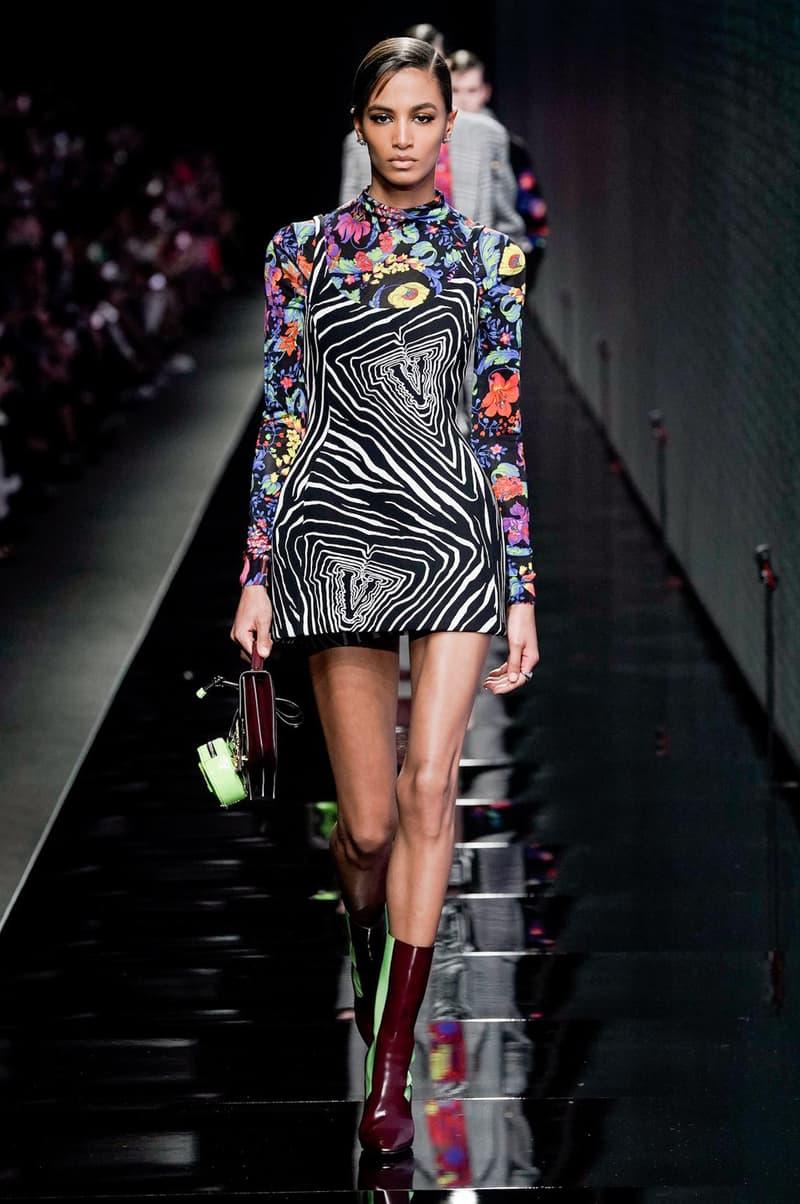 Versace Fall/Winter 2020 Collection Runway Show Zebra Stripe Dress
