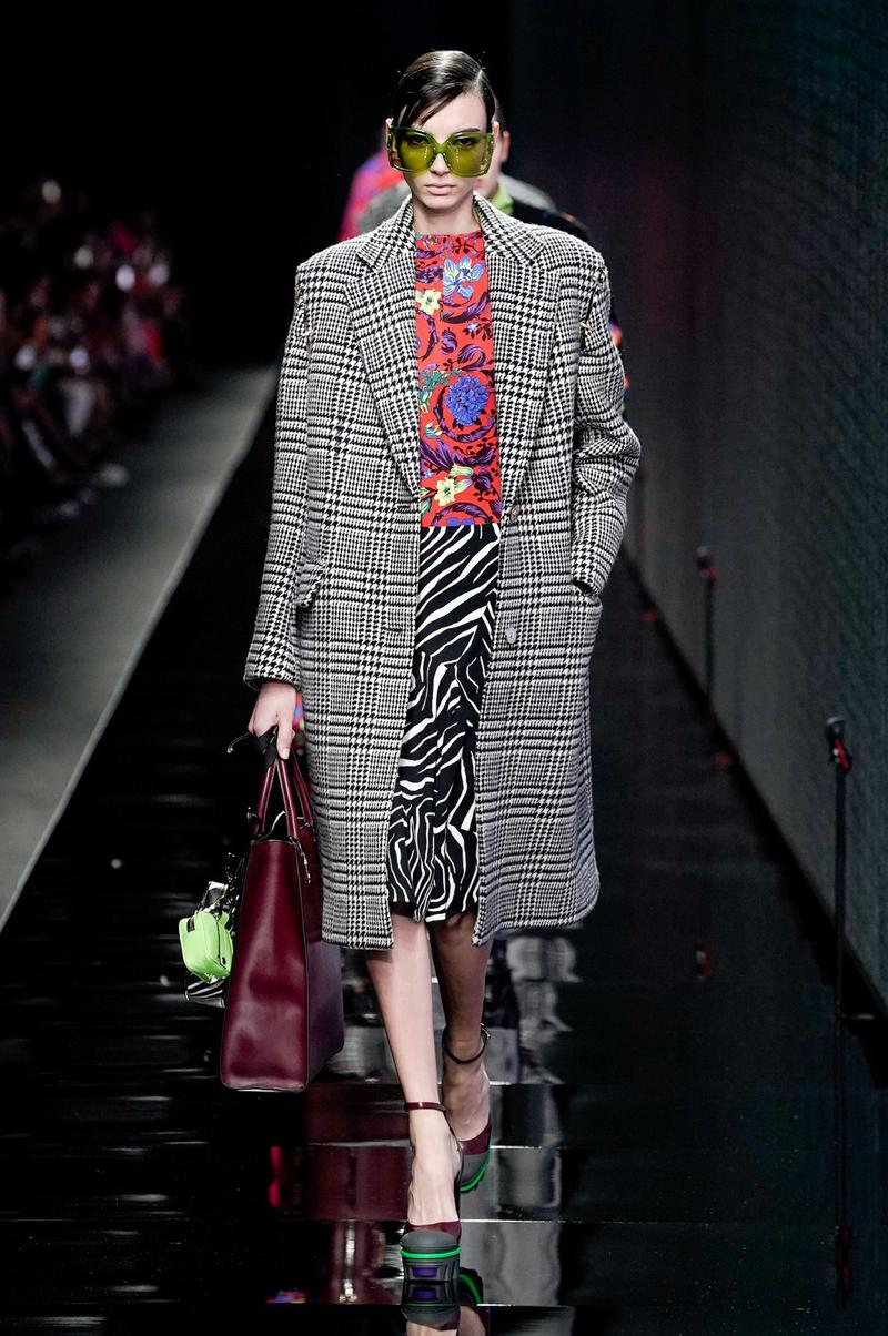 Versace Fall/Winter 2020 Collection Runway Show Plaid Coat Black White