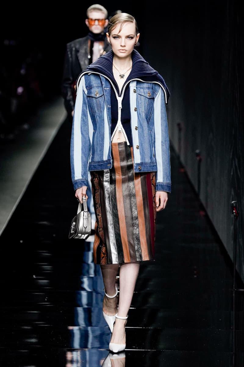 Versace Fall/Winter 2020 Collection Runway Show Denim Jacket Skirt Brown
