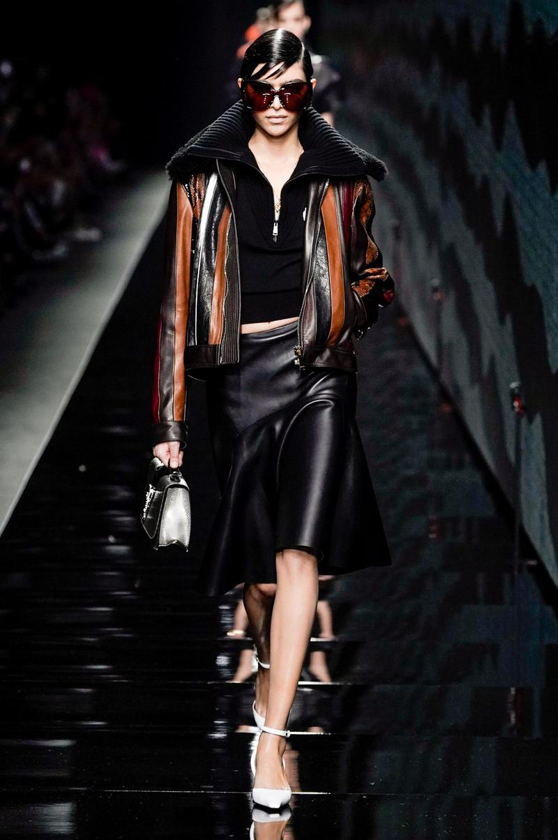 Versace Fall/Winter 2020 Collection Runway Show Leather Skirt Black