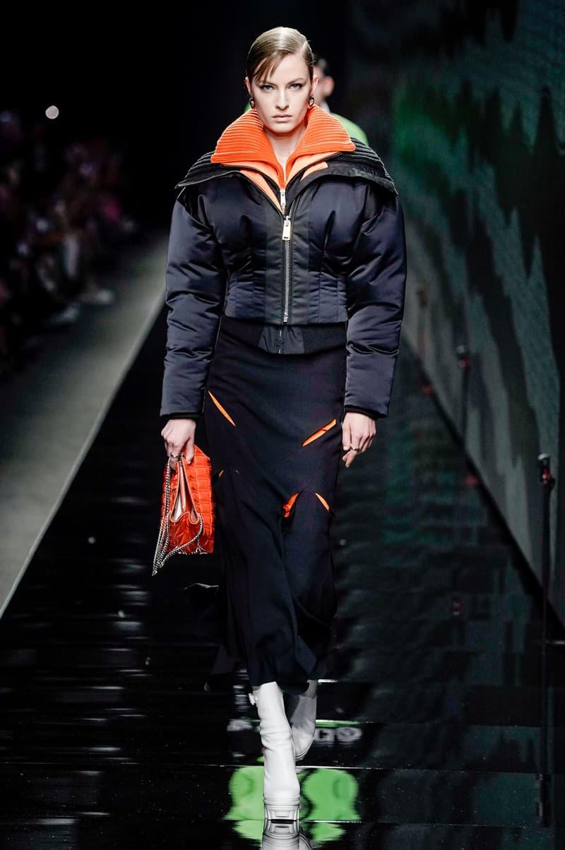 Versace Fall/Winter 2020 Collection Runway Show Puffer Bomber Black Orange