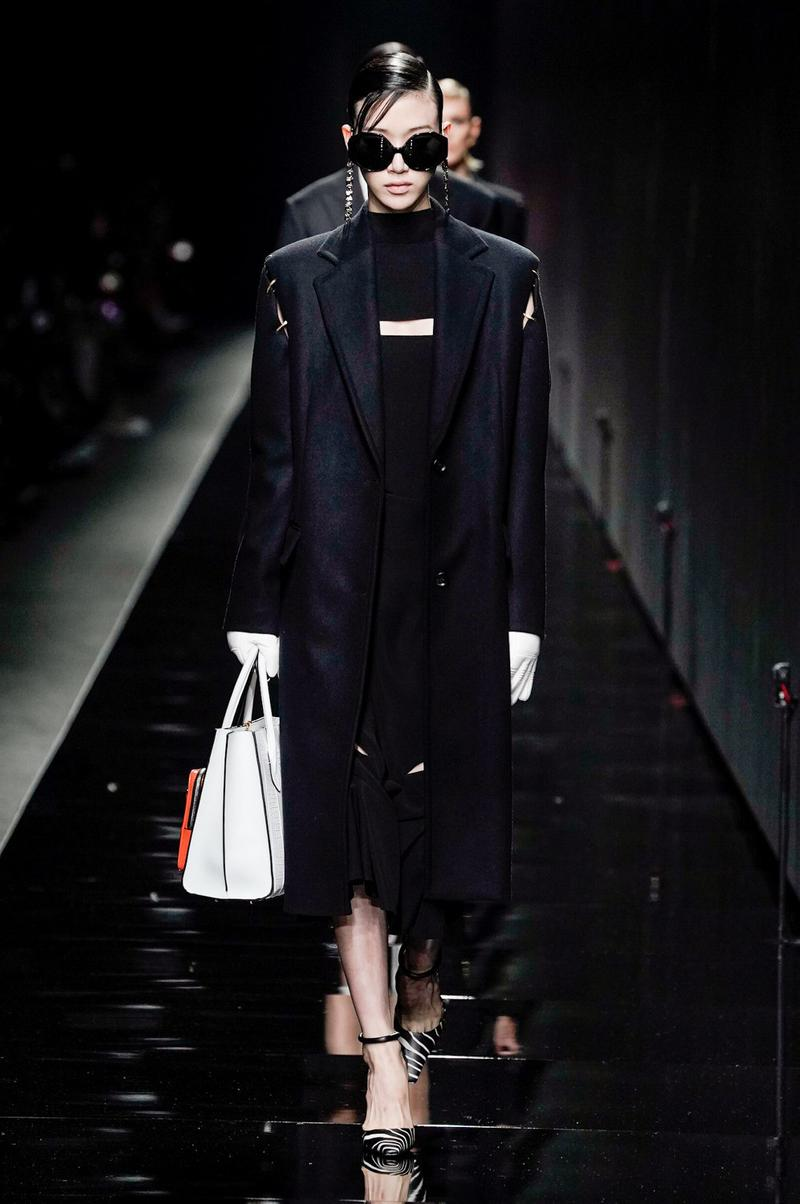 Versace Fall/Winter 2020 Collection Runway Show Coat Black