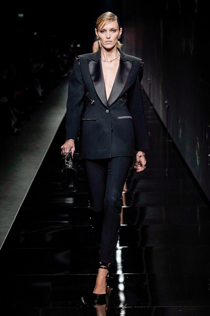 Versace Fall/Winter 2020 Collection Runway Show Tuxedo Jacket Pants Black