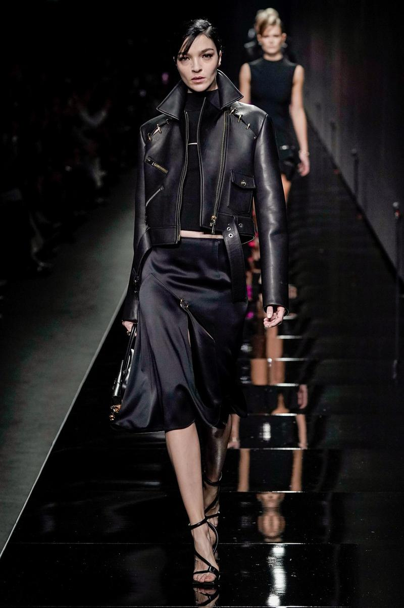 Versace Fall/Winter 2020 Collection Runway Show Leather Jacket Black