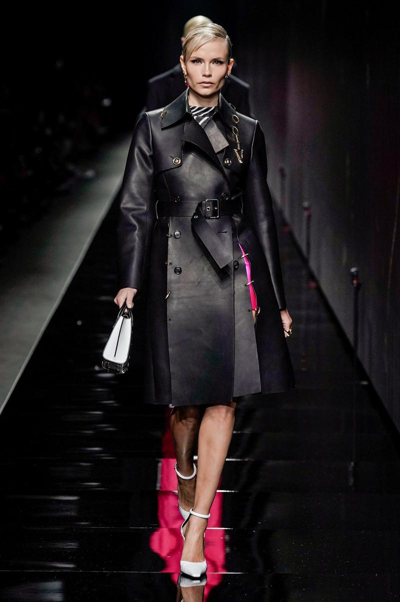Versace Fall/Winter 2020 Collection Runway Show Trench Coat Black