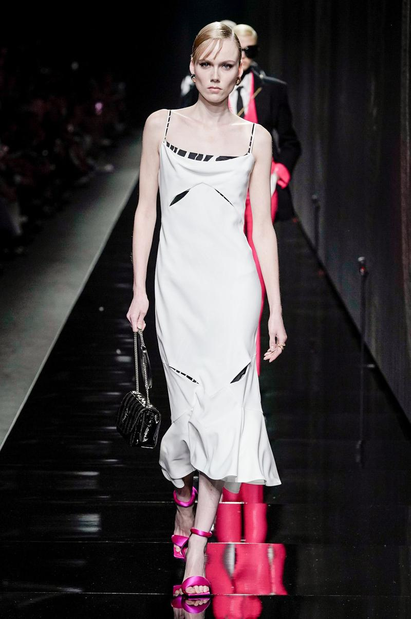 Versace Fall/Winter 2020 Collection Runway Show Slip Dress White