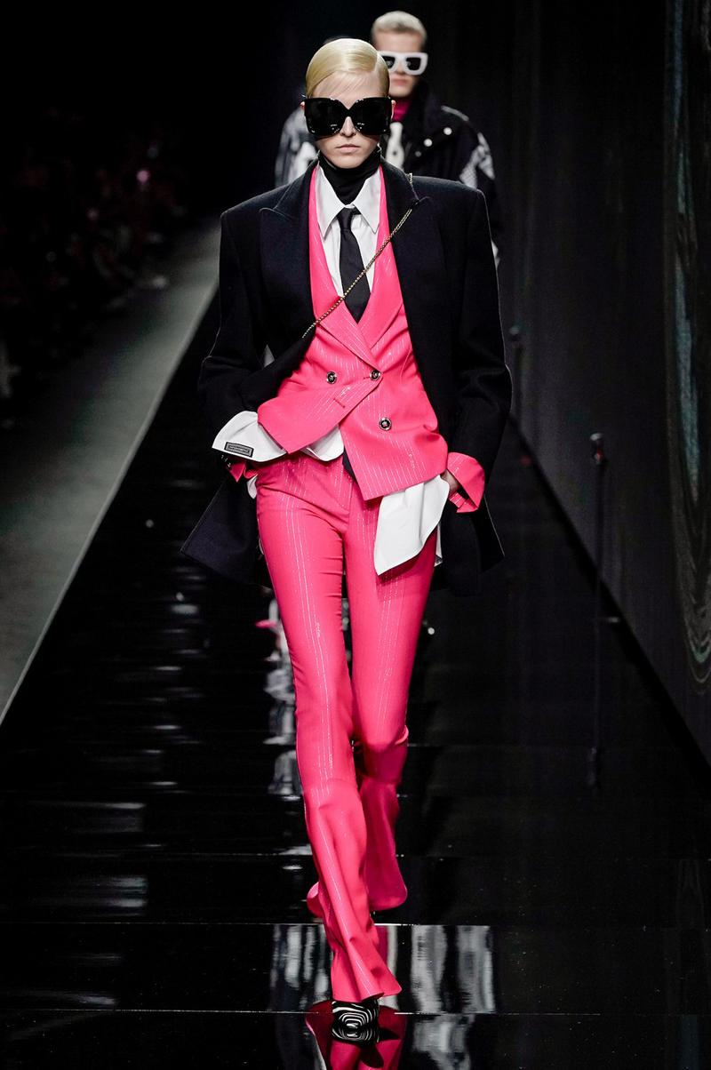 Versace Fall/Winter 2020 Collection Runway Show Suit Pink