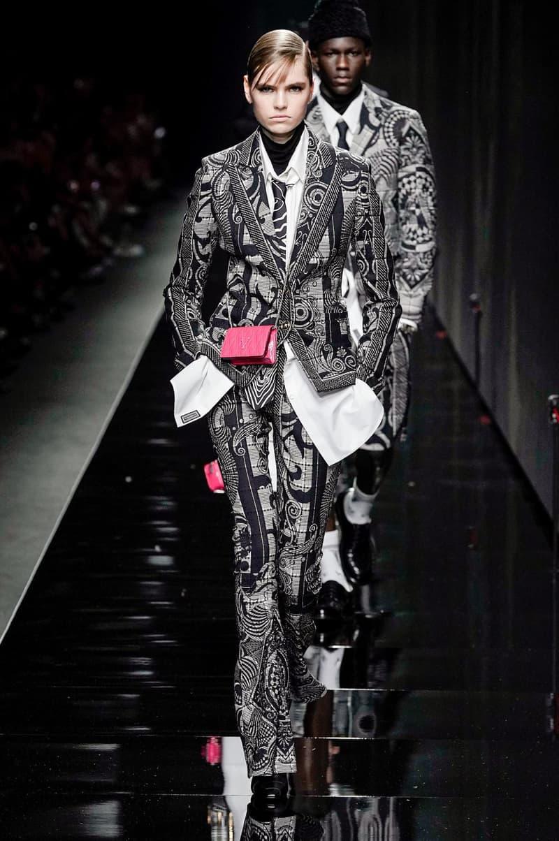 Versace Fall/Winter 2020 Collection Runway Show Zebra Stripe Jacket Pants