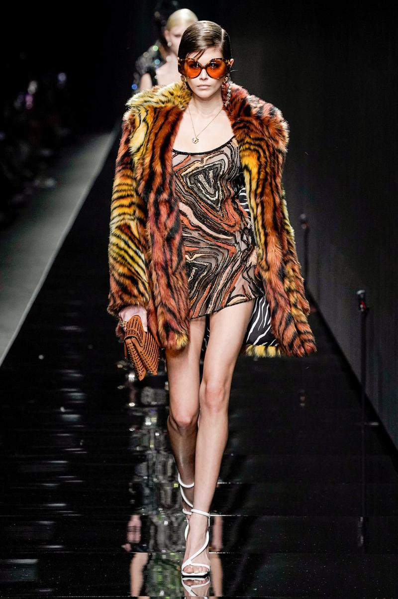 Versace Fall/Winter 2020 Collection Runway Show Tiger Print Coat Dress