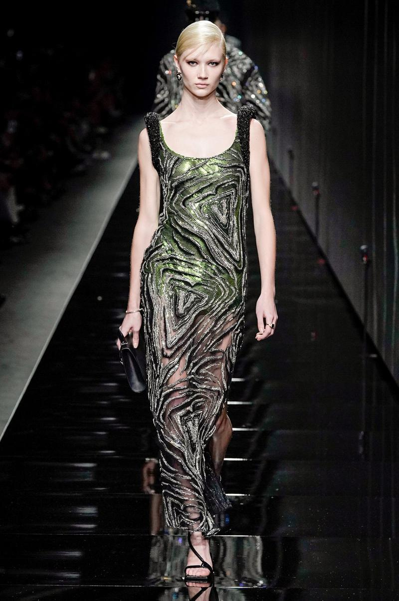 Versace Fall/Winter 2020 Collection Runway Show Sequin Gown Silver Green