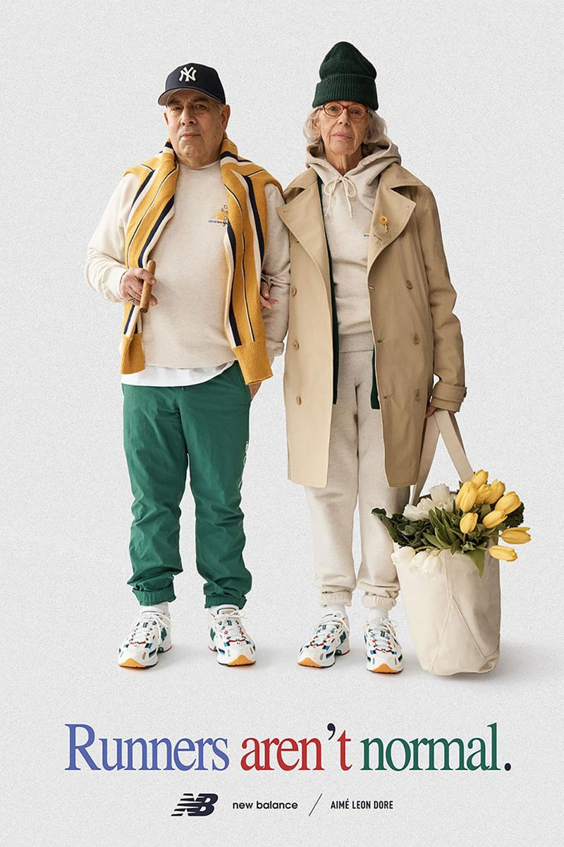 aime leon dore new balance collaboration 827 sneakers white red yellow blue coats outerwear beanies new era snapback cap pants sweaters jackets