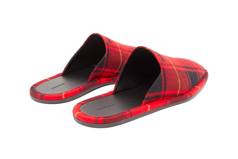 Balenciaga Slippers Logo-Embroidered Tartan Flannel