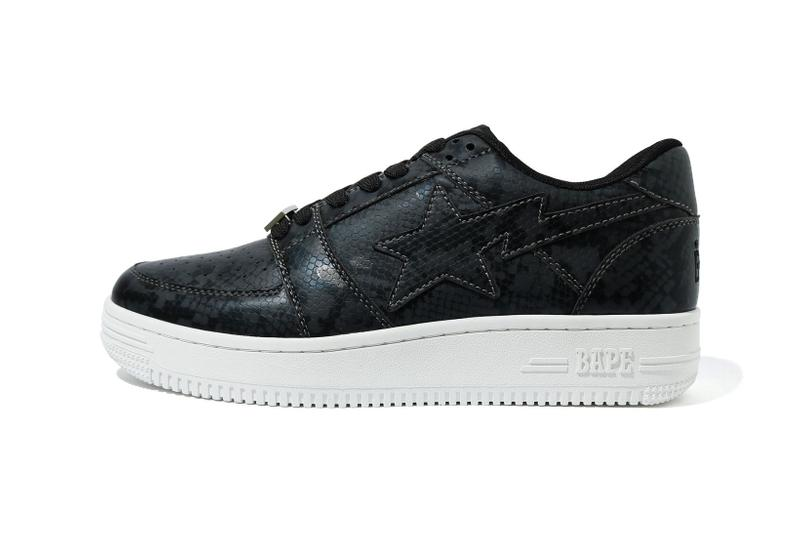 BAPE STA Low Snakeskin Black
